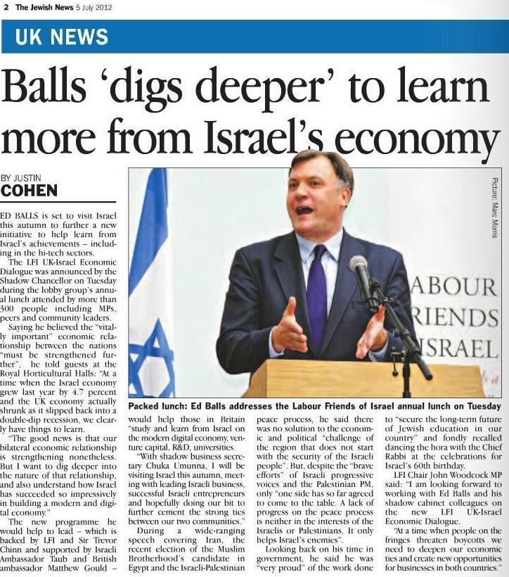 Ed Balls speaking at LFI Annual Lunch 2012 - Jewish News 5 July