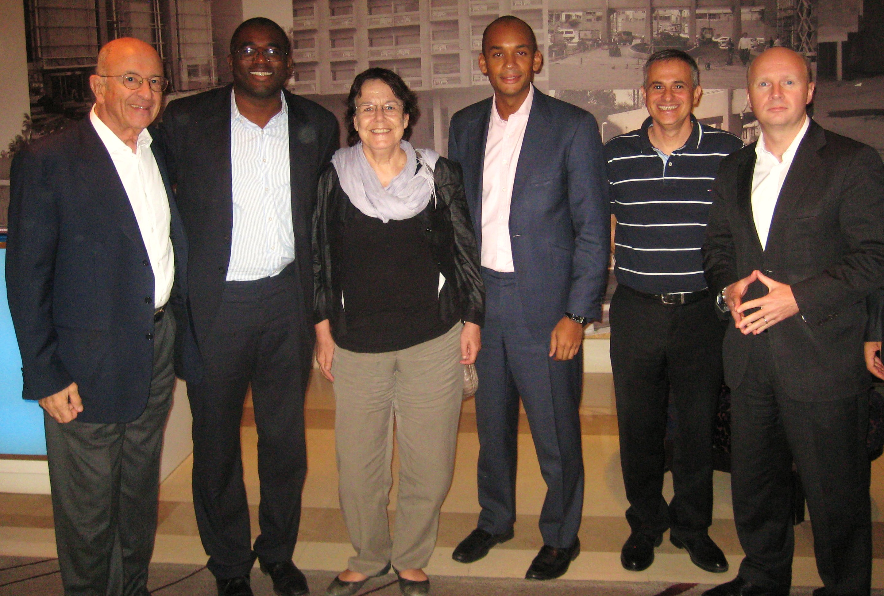Liam Byrne, Chuka Ummuna, David Lammy and Sir Trevor Chinn with Smadar Nehab of Israel'sTsofen NGO and Jimmy Levy of Galil Software