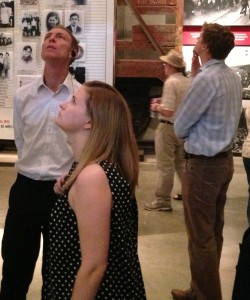 Jim Murphy, Gemma Doyle and Tristram Hunt in the Yad Vashem Holocaust museum